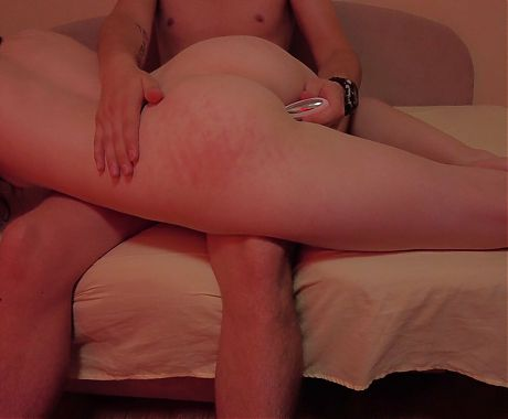 Spanking her ass and fucking her young 18-year-old girlfriend
