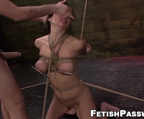 Busty Asian Kimmie Lee tied up for pussy domination