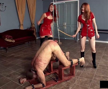 Mistresses with crop and cane - cock and balls