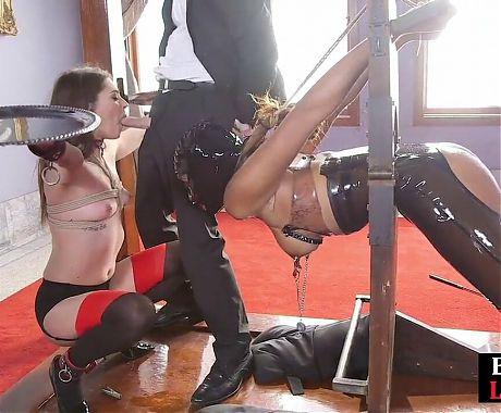 Submissive slut gets pussy whipped