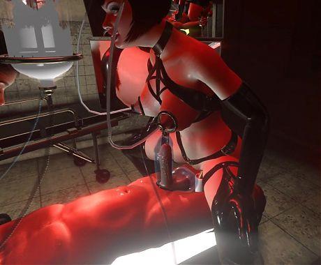 3D SFM VR, Huge Tits, Latex Mistress, Breast Feeding, Vacuum
