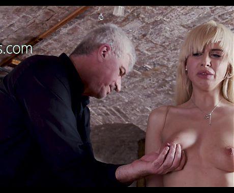 Worthless slaves boobs slapped
