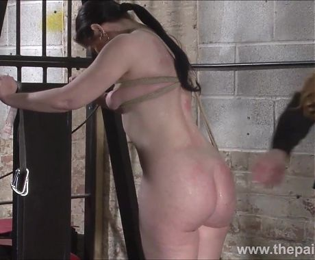 Lesbian slave Caroline Pierce tied on ice and whipped by lez