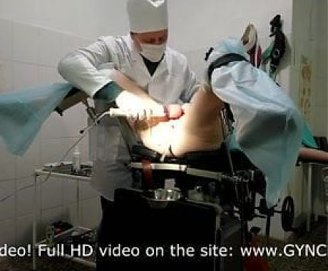 Two orgasms of a mature woman at the gynecologist