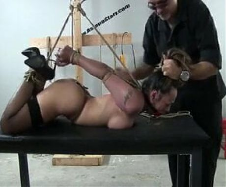 Busty babe gets tied up